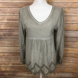 🌷SALE🌷Altar'd State Gray Top Lace Trim